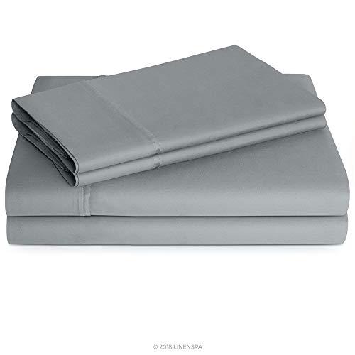 Linenspa 600 Thread Count Ultra Soft, Deep Pocket Cotton Blend Sheet Set - Queen - Stone