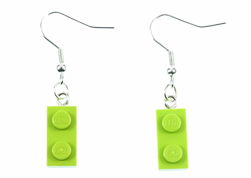 Lego Ohrringe Hänger Miniblings Spiel Spiele Upcycling Legoplättchen apfelgrün