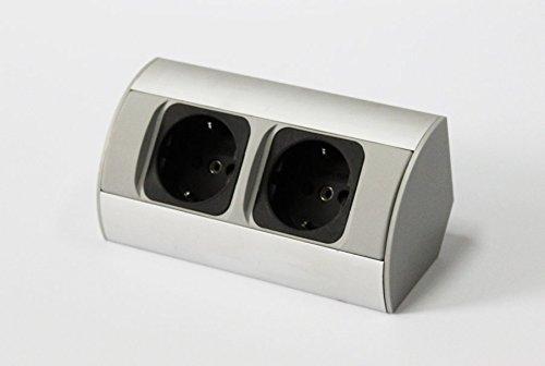Enchufe de esquina aluminio caja de alimentación enchufe de mesa powerport contacto de puesta a tierra