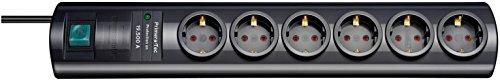 Brennenstuhl Primera-Tec, Steckdosenleiste 6-fach mit Überspannungsschutz 19.500A (2m Kabel und Schalter - hochwertiges, edles Design) schwarz