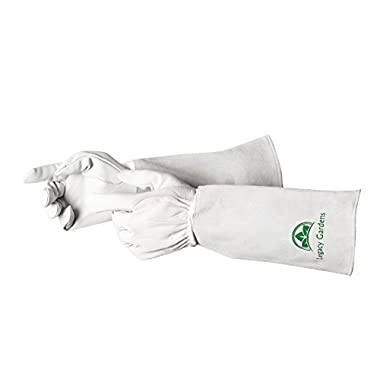 Legacy Gardens Leather Gardening Gloves for Women and Men | Thorn and Cut Proof Garden Work Gloves with Long Heavy Duty Gauntlet | Suitable For Thorny Bushes Cacti Rose Pruning Landscaping Work - M
