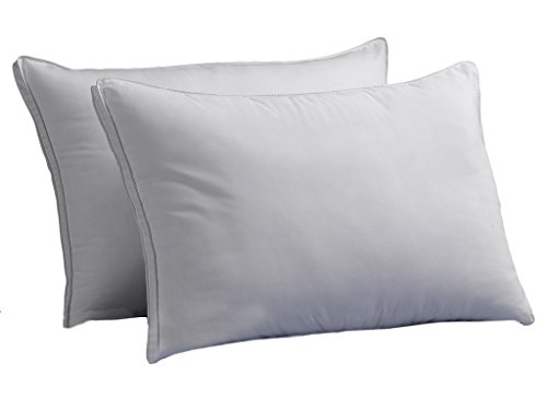 Down Supply OVERSTUFFED MED/Firm Luxury Down-Alternative Pillows 2-Pack Standard Size Gel-Fiber Filled Hypoallergenic, Super-Soft Brushed Microfiber Gusseted Shell - Best for Side & Back Sleepers