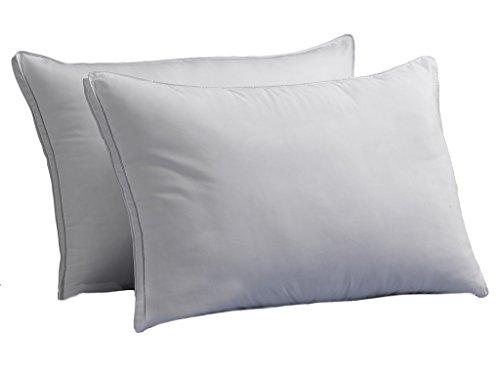 Ella Jayne OVERSTUFFED MED/Firm Luxury Down-Alternative Pillows 2-Pack King Size Gel-Fiber Filled Hypoallergenic, Super-Soft Brushed Microfiber Gusseted Shell - Best for Side & Back Sleepers