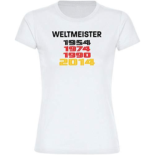 Multifanshop T-Shirt Deutschland mit Aufschrift Weltmeister und Jahreszahlen Retro 1954 1974 1990 2014 Trikot Damen weiß Gr. S-2XL - Fanshirt Fußball EM WM,Größe:L