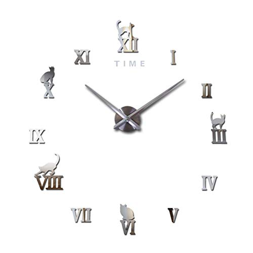 DIY Wall Clock Frameless Large Wall Decoration Large Wall Clock Silent 3D DIY Kitchen Clock Roman Numberals Acrylic Mirror Stickers Oversize Wall Clocks for Living Room Decor【Silver】