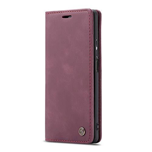 JMstore Funda Compatible con iPhone 5/5S/SE, Magnético Carcasa Funda Móvil Billetera Cuero Funda con Tapa Libro Caso Soporte Plegable (Rojo)