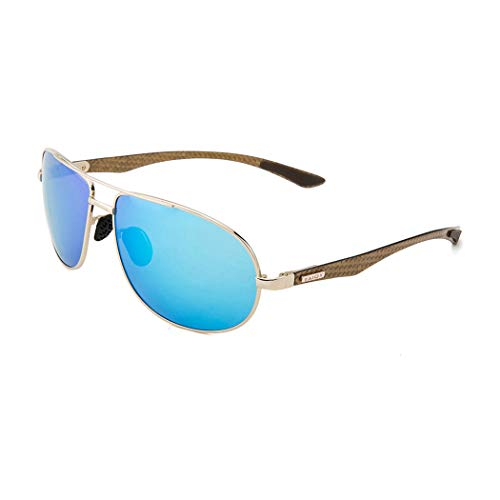 TAIQX Mens Polarized Sunglasses Military Style - Round 63mm Classic Aviator Sunglasses Lens and Vintage Design Frame - Gold Frame/Blue Lens