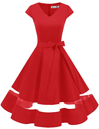 Gardenwed 1950er Vintage Retro Rockabilly Kleider Petticoat Faltenrock Cocktail Festliche Kleider Cap Sleeves Abendkleid Hochzeitkleid Red XS