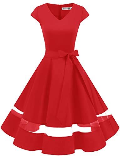 Gardenwed Annata 1950 retrò Rockabilly Polka Vestito da Audery Swing Abito da Cocktail Partito con Maniche Corte Red L