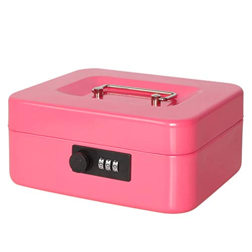 Jssmst Small Cash Box with Combination Lock - Durable Metal Cash Box with Money Tray Pink,7.87 x 6.3 x 3.35 inches,CB0704M