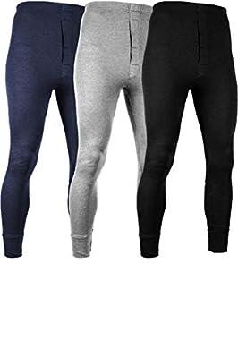 Andrew Scott Men's 3 Pack Premium Cotton Base Layer Long Thermal Underwear Pants (3 Pack - Black/Grey/Navy, X-Large)