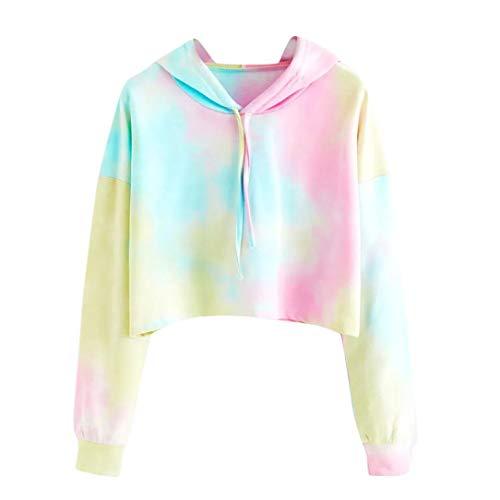 Haut Chic, YUYOUG Femme Sweatshirt Sweat à Capuche Tops Blouse Cultures Haut Hoodies pour Filles (M, Sky Blue)