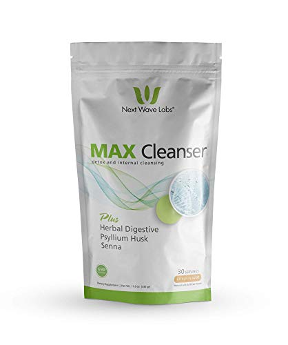 Next Wave Labs Max Cleanser,(New Flavor) Herbal Digestive, Psyllium Husk, Aloe Vera, Chia, Flax, Enzymes, Acidophilus, Natural Detox, Internal Cleansing New and Improved Citrus Flavor