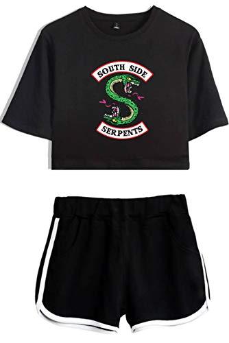 HAOSHENG Riverdale Camiseta Cortos de Verano Chándales Vibrante Linda Cintura Alta Conjunto Niña y Mujer(M)