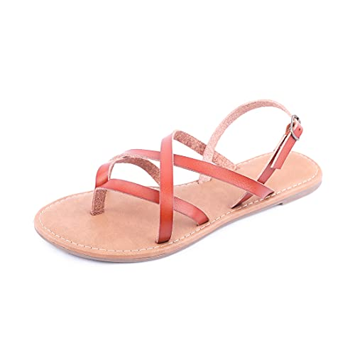 Women's Gladiator Flat Sandals Fisherman Strappy Sandals Ankle Strap Sandals (Brown, 7)