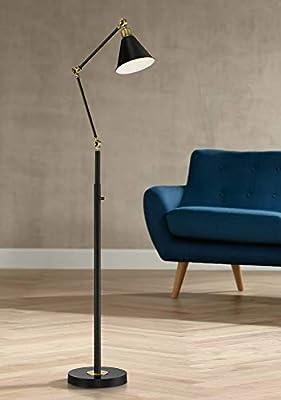 Wray Mid Century Modern Pharmacy Floor Lamp Flat Black Antique Brass Adjustable Swivel Head for Living Room Reading Bedroom Office - 360 Lighting