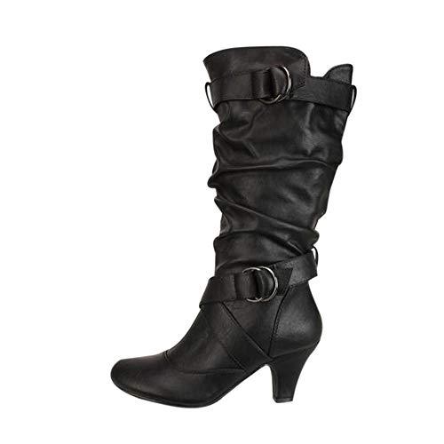 MYMYG Damen Stiefel Spitz Boots Frau Mittleres Rohr Stiefel Baumwolle Winterschuhe Walkingschuhe Freizeitschuhe Wasserdicht Schnee Stiefel British Stiefel Partycocktail