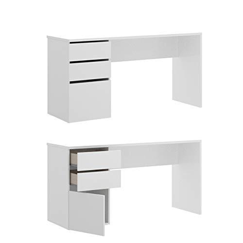 HABITMOBEL Escritorio Oficina 2 cajones y 1 Puerta Blanco Brillo. Medidas: Alto 75cm. Ancho 139cm. Fondo 60cm.