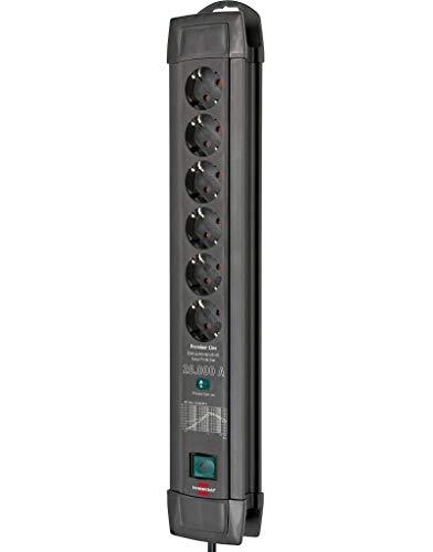 Brennenstuhl Premium-Line, Steckdosenleiste 6-fach mit Überspannungsschutz bis zu 26.000 A (Steckerleiste mit 1,8m Kabel und mit Schalter, Made in Germany) schwarz
