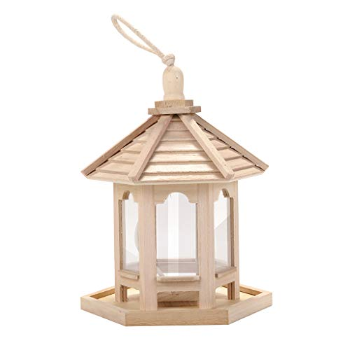 Ivo Ryan Bird Feeder, Wooden Bird Feeder Hanging for Garden Yard Gazebo Wild Bird Feeder Decoration Hexagon Shaped with Roof