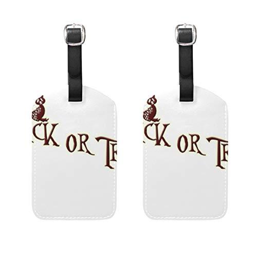 LORONA Halloween Kürbis Katze Gepäckanhänger Strings Travel ID Label für Koffer Handgepäck, 2er Set