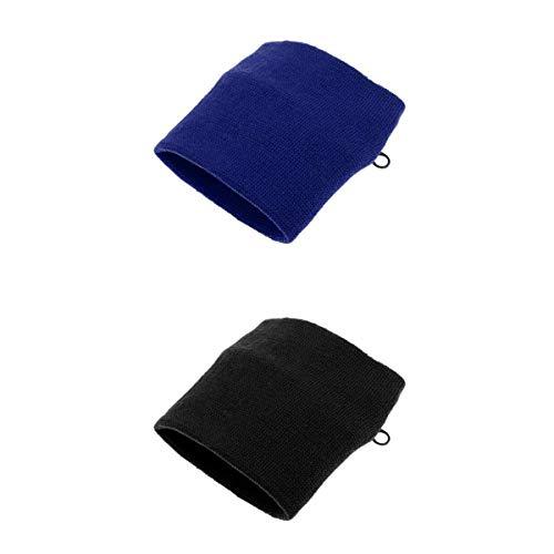 MagiDeal Sport Armbandtasche 2pcs Herren Damen Schweißarmband mit Tasche Reißverschluss Schweißband Blau + Schwarz