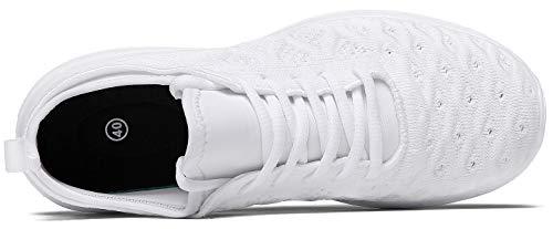 JOOMRA Women Tennis Shoes Lightweight for Nurse Cheer Ladies Gym Jogging Walking Workout Running Sport Flats Fashion Sneakers White Size 10