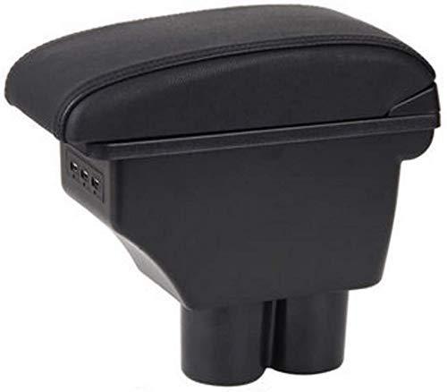 Reposabrazos De Coche para Peugeot 307, Negro Cuero Caja De Almacenamiento De Consola Central De Doble Con Cenicero Y Portavasos Puerto Usb Interior Accesorios