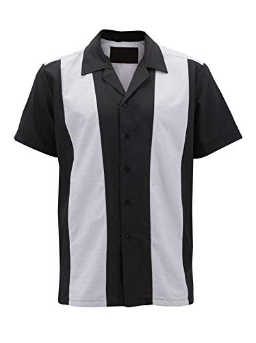 Mens Vintage Casual Two Tone Button Down Classic Retro Guayabera Bowling Shirt (#13 - Heather Grey/Black, 2XL)