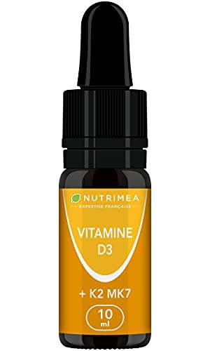 VITAMINES D3 & K2 MK7 Végétales - 100% Pure et Vegan - Avec Huile d'Olive Bio - Renforce l'Immunité, Santé des Dents, Os, Muscles - Flacon Compte-Gouttes - Nutrimea - Fabriqué en France