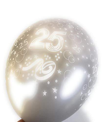 Unbekannt 5 silberfarbende Luftballons Zahl 25 Silberne Hochzeit Ballons Silberhochzeit Partydeko