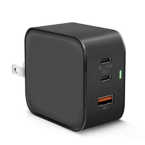 【最新版】PD 充電器 65W USB-C ACアダプター 急速充電器(GaN 窒化ガリウム採用/2USB-C&1USB-Aポート/折畳式プラグ/PD&QC対応)3ポート 小型 GalaxyS10/SWITCH/パソコン/iPhone 11/iPhone 12対応