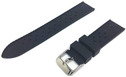 Uhrenarmband von Tropic für Rolex, Schwarz, Gummi Taucher, Riemenbreite 22mm
