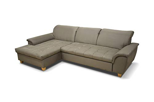 DOMO Ecksofa Franzi / Couch in L-Form Sofa Polsterecke / 279 x 162 x 81 cm / Eckcouch in beige (taupe)