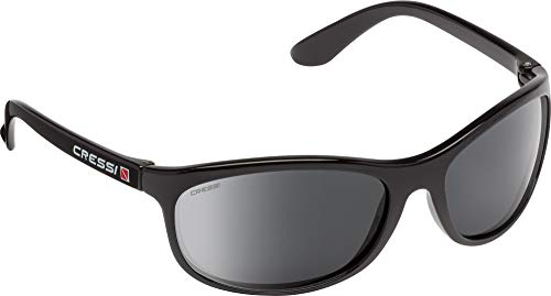 Cressi Rocker Floating Sunglasses - Gafas de Sol Deportivas Flotantes con Estuche Rígido Unisex Adulto, Negro/Lentes Ahumadas