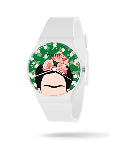 PANAPOP | Frida | Reloj de Pulsera Mujer | Reloj Correa Blanca | Reloj Silicona | Frida Kahlo Licencia Oficial