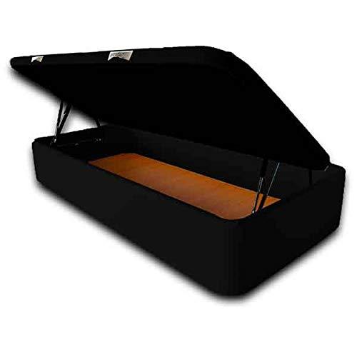 Ventadecolchones - Canapé Abatible Apertura Lateral Serena Gran Capacidad Tapizado en Polipiel Negro Medidas 90 x 190 cm con Tapa en Tejido 3D