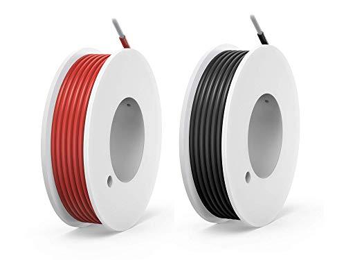NorthPada 20 AWG 0,5 mm² Elektronik Elektrischer Draht Kit Litzen Silikon Leitungen Draht Verzinntes Kupfer Kabel 2 Farbe(Schwarz+Rot) 600V 5A 2 x 7 meter