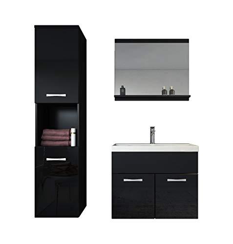 Badezimmer Badmöbel Montreal 60cm Waschbecken - Unterschrank Waschtisch Spiegel Möbel (Schwarz)