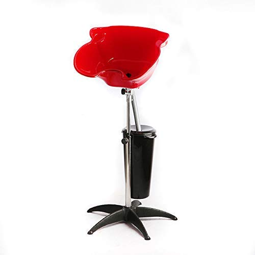 YLKCU Lavacabezas portátil Lavabo para champú con Soporte Lavabo portátil para Herramientas de salón con desagüe Lavabo para Lavar el Cabello con champú de Altura Ajustable, Rojo, con Cubo