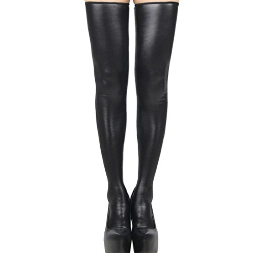 ZEZKT♪Lange Hoch Socken Leder Lace Bow Damen Strümpfe Stocking Optik Reizwäsche Halterlose Overknee Bequeme Oberschenkel (A)