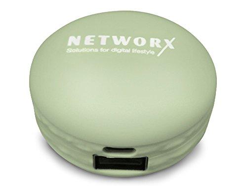 Networx Macaron Power Bank 2400 mAh, Zusatzakku für Smartphones/Tablets, mint