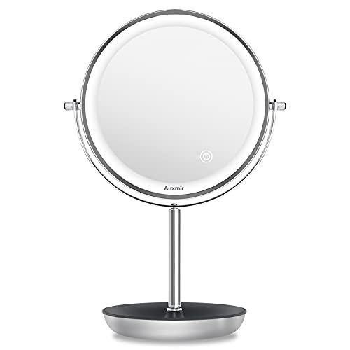 Auxmir Miroir Maquillage Lumineux avec 54 LEDs, Miroir de Table sur Pieds avec Double Faces Grossissant 10x/1x, Miroir Cosmétique avec Lumière Réglable, Plateau de Rangement et Rotation à 360°