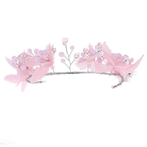 Diadema de Cristal, Rosa Hilo Tejido Artesanal Butterfly Rhinestone Beads Secador De Banda Braidesmaid Sombreros, Diademas De Moda Nupcial Boda Cintillos Chica Pelo Festival Accesorios Regalos