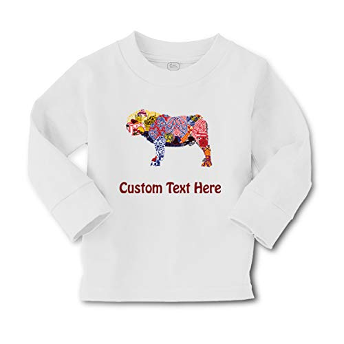 Custom Personalized Kids Long Sleeve T Shirt Dog Large in Ornament Animals Lover Pet Cotton Boy & Girl Clothes Funny Graphic Tee A White Personalized Text Here 4T