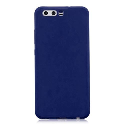 cuzz Funda para Huawei P10+{Protector de Pantalla de Vidrio Templado} Carcasa Silicona Suave Gel Rasguño y Resistente Teléfono Móvil Cover-Azul Oscuro