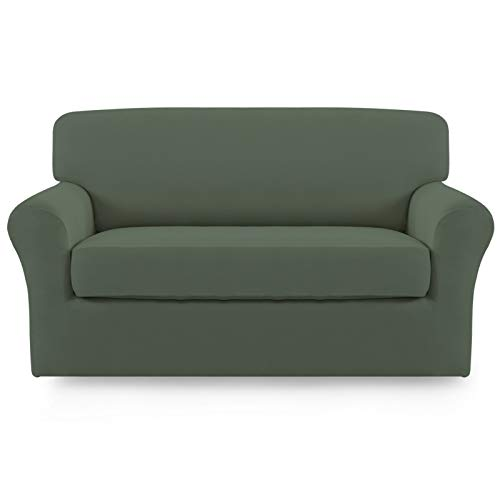 Easy-Going 2 Pieces Microfiber Stretch Couch Slipcover – Spandex Soft Fitted Sofa Couch Cover, Washable Furniture Protector with Elastic Bottom Kids,Pet (Loveseat, Greyish Green)
