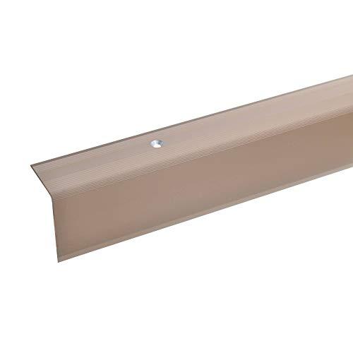 acerto 38074 Aluminium Treppenwinkel-Profil - 100cm 42x30mm, bronze hell * Rutschhemmend * Robust * Leichte Montage | Treppenkanten-Profil, Treppenstufen-Profil aus Alu | Gelochtes Stufenkanten-Profil