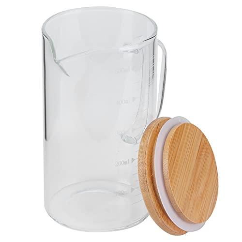 Taza de vaso graduada con asa y tapa duradera, taza medidora de vidrio de borosilicato Taza resistente al calor para hotel, restaurante, hogar(500ML)