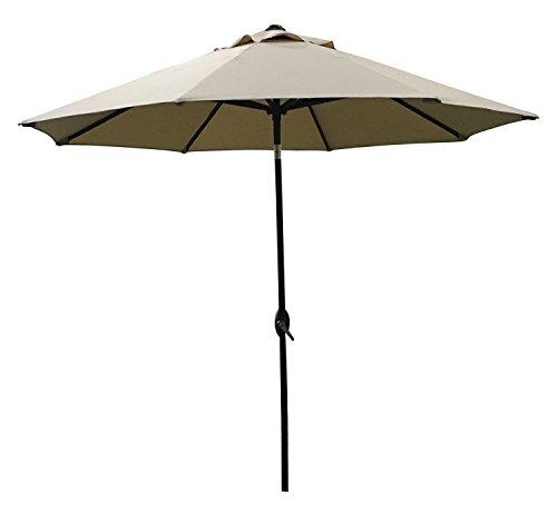 ABO Gear 9-Feet Outdoor Aluminum Patio Umbrella with Auto Tilt and Crank, 8 Ribs, Polyester, Beige